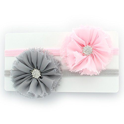 My Lello Baby Flower Headband Shabby Frayed Fabric Ballerina Rhinestones Pair (Light Pink/Gray)