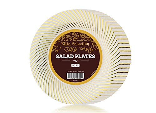 Plastic Plates Pack Of (50) Salad/Dessert Disposable Party Plates - Hard Gold Plastic Plates - Wedding Plates - Fancy Party Goods - Cream Ivory Color With Gold Swirl 7.5""