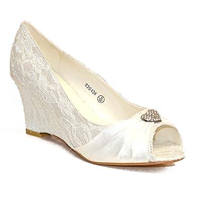 2c4b887c11efcb IVORY LACE SATIN WEDDING BRIDAL HIGH MID WEDGE HEEL COURT PUMP SHOES UK  SIZES 3 -. Absolutely Gorgeous Boutique