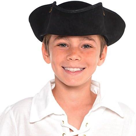 Black Tricorner Pirate Buccaneer Hat w// White Fur Adult Costume Accessory
