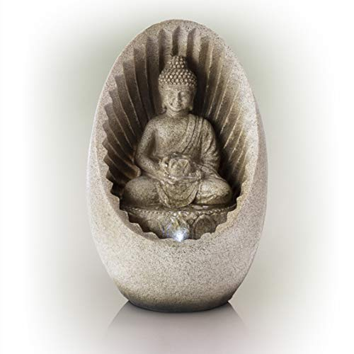 Alpine Corporation Meditating Buddha with Lotus Flower Tabletop Fountain with LED Light - Zen Indoor Decor for Office, Living Room, Bedroom - 11 Inches (Budha Fountain)
