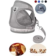 GAUTERF Dog and Cat Universal Harness with Leash Set, Escape Proof Cat Harnesses - Adjustable Reflective Soft Mesh Corduroy Dog Harnesses - Best Pet Supplies (X-Small, Grey)
