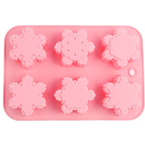 CHICHIC 6 Cavity Silicone Snowflakes Soap Molds, Handmade Soaps, Baking Mold Cake Pan, Biscuit Mold, Chocolate Mold, Ice Cube Tray for Homemade Craft Cake Mold Pudding Mold Jello Mold (Snowflake Chocolate Cakes)