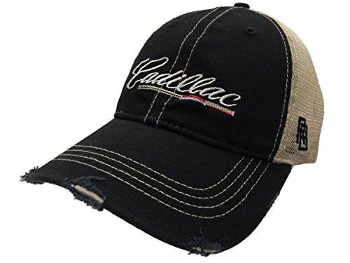 Cadillac General Motors Retro Brand Black Vintage Mesh Adj. Snapback Hat Cap