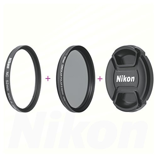 Nikon 52mm Screw-on Neutral Color Filter / Nikon 52mm Circular Polarizer II Filter / Nikon LC-52 Snap on Front Lens Cap Set by Nkon