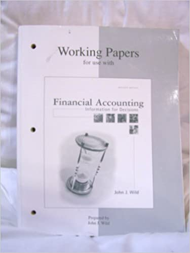 Book Working Papers for use with Financial Accounting