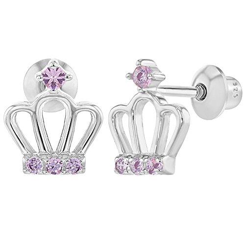Crown Sterling Silver 925 (925 Sterling Silver Crown Pink CZ Princess Screw Back Earrings for Girls Teens)