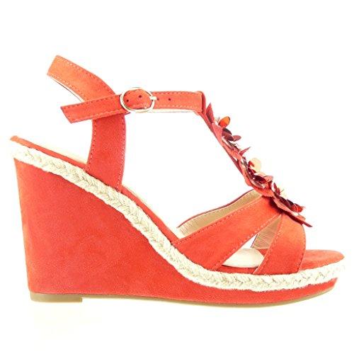 Angkorly - Zapatillas de Moda Sandalias alpargatas correa zapatillas de plataforma mujer tanga flores strass Talón Plataforma 11 CM - Rojo