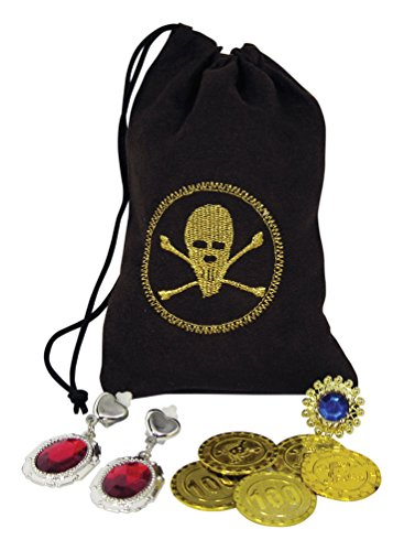 Forum Novelties 61625 Party Supplies Buccaneer Drawstring Pouch with Jewelry and Coins, 4