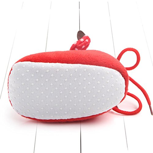 Kind Lauflernschuhe,Chshe Weihnachten Säugling Sohle Baumwolle Obere Baumwollgewebe Hirsch Gedruckt Schlüpfen Nachkomme Schuhe(0-6 Monate) Rot