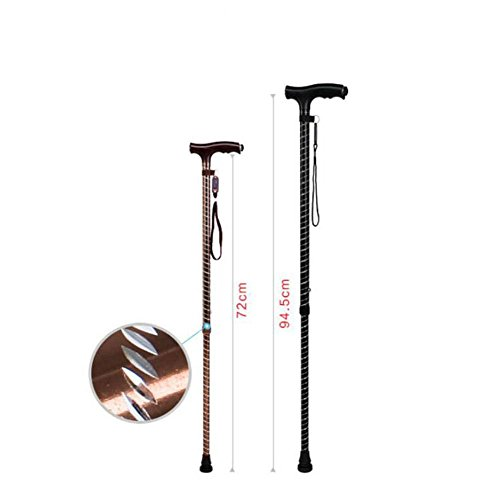 JINGLI WANGJINLI Old People Crutches Aluminum Alloy With Lights Foldable Telescopic Medical Care Crutch, Black by JINGLI (Image #1)