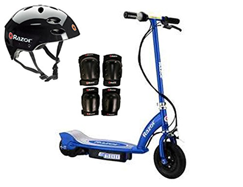 Razor E100 Motorized 24V Electric Scooter (Blue) with Helmet, Elbow & Knee Pads