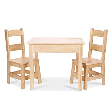 Melissa & Doug Solid Wood Table and 2 Chairs Set Light Finish Furniture for Playroom