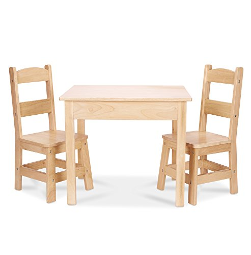 Melissa & Doug Solid Wood Table and 2 Chairs Set - Light Finish Furniture for Playroom - Wooden Kids Furniture