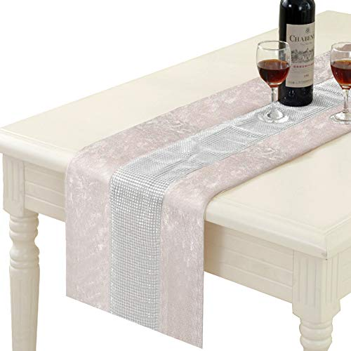 HALOViE 13 x 70 Inch Table Runner, Rectangular Coffee Dining Table Cloth Runners with Diamante Strip for Home Kitchen Party Wedding Decorations Beige
