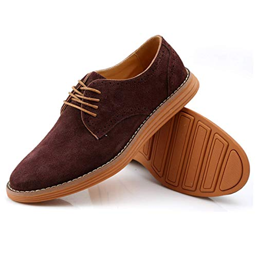 (Moodeng Men`s Classic Suede Oxford Shoes Summer Causal Walking Dress Shoes Non-Slip Lace Up Fashion Sneaker Red/Brown)
