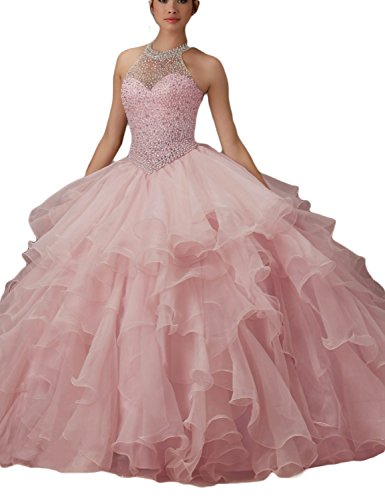 LMBRIDAL Women's Ball Gown Ruffled Beading Prom Dress Halter Quinceanera Light Pink (Halter Quinceanera Gown)