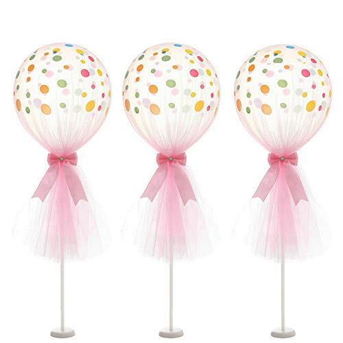 XiangGuanQianYing 12 inch Party Latex Polka Dot Balloons Tutu Tulle Balloons with Column Base Kit for Baby Shower Birthday Wedding Party Decoration(Pink Tulle Balloon, 3 -