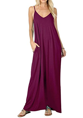 Loose Sleeveless Maxi Boho Purple Flowy Women's Casual Dress Dresses with BLUETIME Pockets Long T8qIYwRW