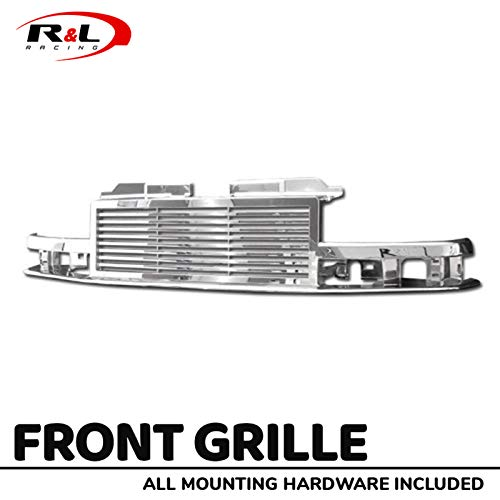 R&L Racing Chrome Front Grill Horizontal Hood Bumper Grille Cover 1998-2004 for Chevy S10 Blazer / S10 Pickup