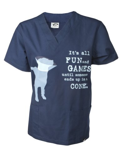 Dog is Good Unisex It's All Fun and Games Scrub Top X-large Navy