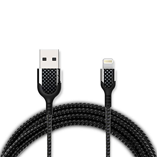 (monCarbone Kobra Carbon Fiber Lightning to USB-A Cable (3.2ft), Apple MFi Certified, Fast High-Speed Super Durable Lightning Cable Charging and Data Sync Cord Nylon Braided)