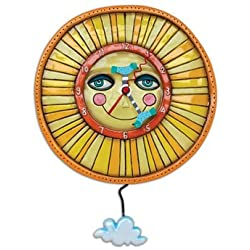Allen Designs Sunny Skies Smiling Sun Pendulum Wall Clock