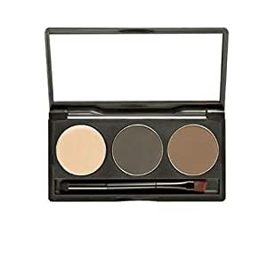 3 Colors Eyebrow Pro Cake Powder Eye Brow Palette Makeup Shading Kit with Brush Mirror MF001-5
