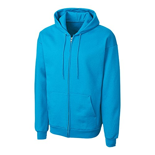 Cutter & Buck MRK03002 Men's Basics Fleece Full-Zip Hoodie, Neon Blue - XXXL