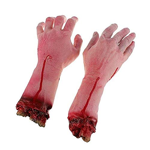 LINJIN 1 Pairs Fake Human Arm Hands Bloody Dead Body Parts Haunted House Halloween Decorations -