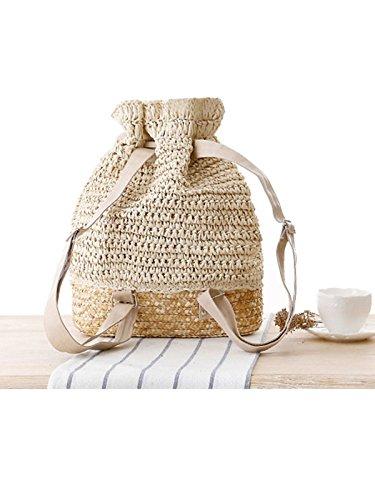 Drawstring Shoulder Bag Lightweight Sweet Backpack Beige Women's Style FBA Straw Flower Knitted Sulida Hook Boho qZwaUzX