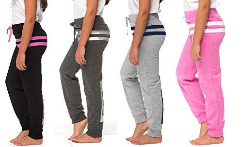 Price comparison product image [G502-AST-11/12] Coco-Limon Joggers Sweatpants for Girls, 1983 Stripe Print, 4 Pack