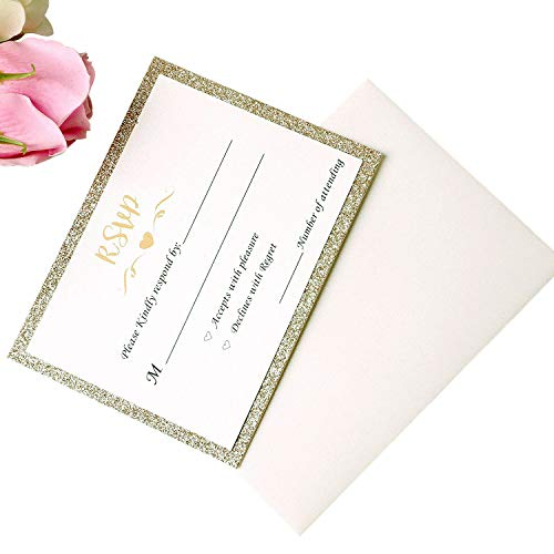 PONATIA 25PCS Laser Cut Hollow Rose with Drill Invitation Card Wedding Bridal Shower Engagement Birthday Graduation Invitation Cards (Champagne Gold RSVP)