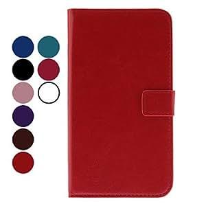 PU del grano del caso de cuero con el soporte, ranura para tarjeta y la hebilla para el Samsung Galaxy Nota 2 N7100 , Rojo