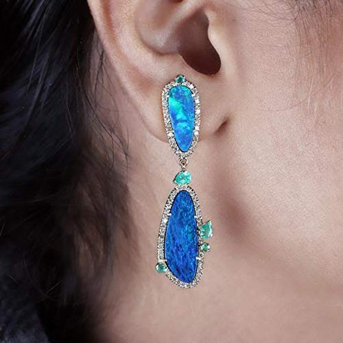 Natural Diamond Pave Emerald 10.2 Ct Blue Opal Dangle Earrings Solid 18k Yellow Gold Wedding Jewelry Women's Day Gifts for Her