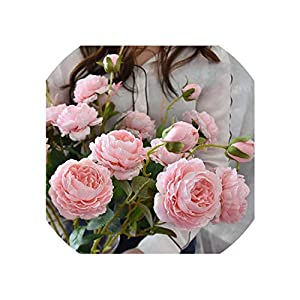 Artificial Flowers Artificial Rose Peony Silk Flowers DIY Long Branch 3 Heads Peonies Fake Flowers Faux Flowers Wedding Decoration 80