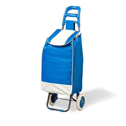 RKY Fold Supermarket Car To Buy Vegetables Hand Truck Carbon Steel Trolley Shopping Cart Portable Trolley Blue Wine Red Optional Luggage Cart Load About 30 Kg Multi-function trolley (Color : Blue)