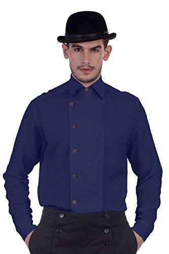 ThePirateDressing Herren Freizeit-Hemd Blau Navy