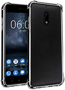 Protective Cover for Nokia 5, Anti-Shock, Anti-Fall Corners, Transparent Tempered Silicon, with Nano Screen Protector.