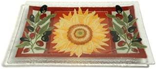 product image for Peggy Karr Handcrafted Art Glass Tuscany Serving Tray, Rectangular, 10-Inch