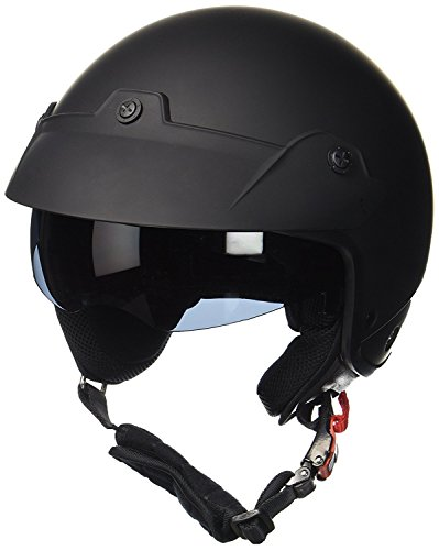 Protectwear Jet helmet H740 with integrated sun visor and shield matt black...