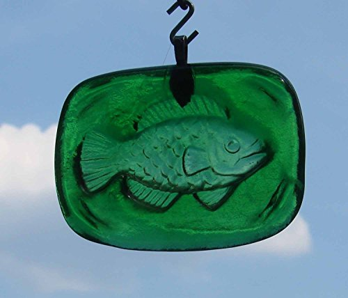 Green Fish Tile Handmade Upcycled Bottle Sun Catcher Ornament