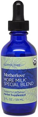 Motherlove - More Milk Special Blend Alcohol Free, Herbal Breastfeeding Supplement w/Goat's Rue, Supports Mammary Tissue Development & Breast Milk Supply, Liquid Tincture with Organic Herbs, 2 oz.