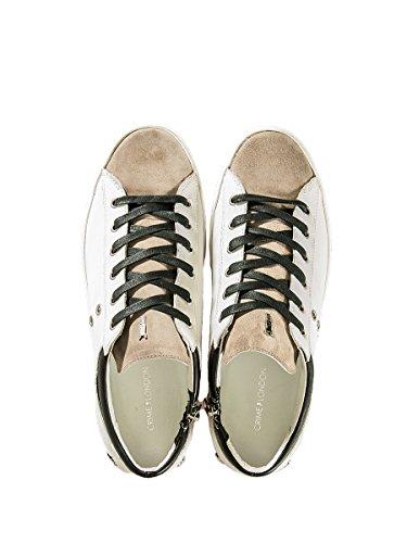 Crime London - Zapatillas de Material Sintético para hombre blanco Bianco