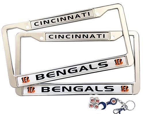 MT-Sports Football Team 2 Pcs Car Licenses Plate Stainless Steel Frames & 4 Pcs Tire Valve Stem Caps (Cincinnati Bengals) Cincinnati Bengals License Plate Frame