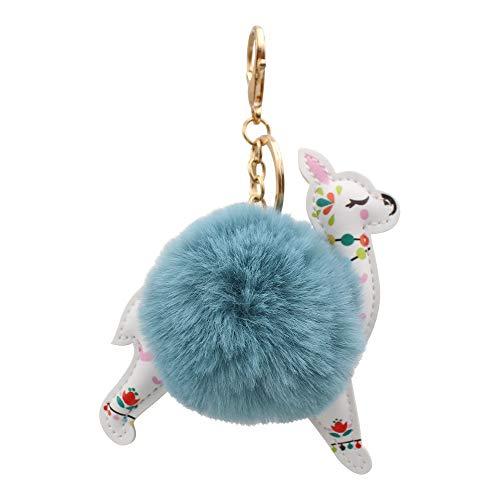 REAL SIC Alpaca/Llama Pom Pom Keychain - Faux Fur Fluffy Fuzzy Charm For Women & Girls (Ocean Blue)