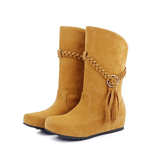 Closed Pull Top Low AgooLar On Heels Yellow Toe Frosted Women's Low Round Boots Xwqnaxp1f