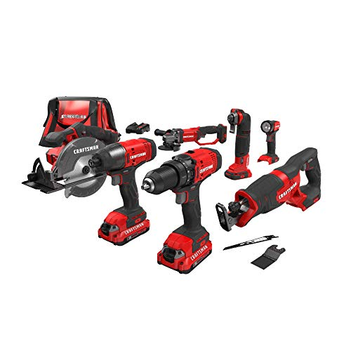 CRAFTSMAN V20 Cordless Drill Combo Kit, 7 Tool (CMCK700D2)