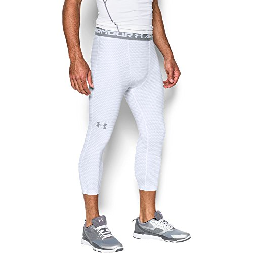 Under Armour Men's HeatGear Armour Printed ¾ Compression Leggings, White/Steel, Large
