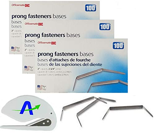 300 OIC Fastener Bases Only, 2 Inch, Silver with Bonus AdvantageOP Letter Opener ()